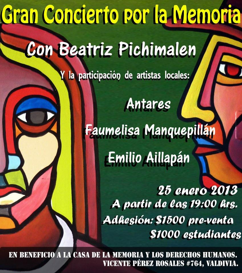 Afiche Gran Concierto por La Memoria Valdivia